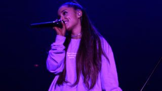 """LOS ANGELES, CA - AUGUST 25:  American Express and Ariana Grande present """"The Sweetener Sessions"""" at Ace Hotel on August 25, 2018 in Los Angeles, California.  (Photo by Kevin Mazur/Getty Images for American Express)"""