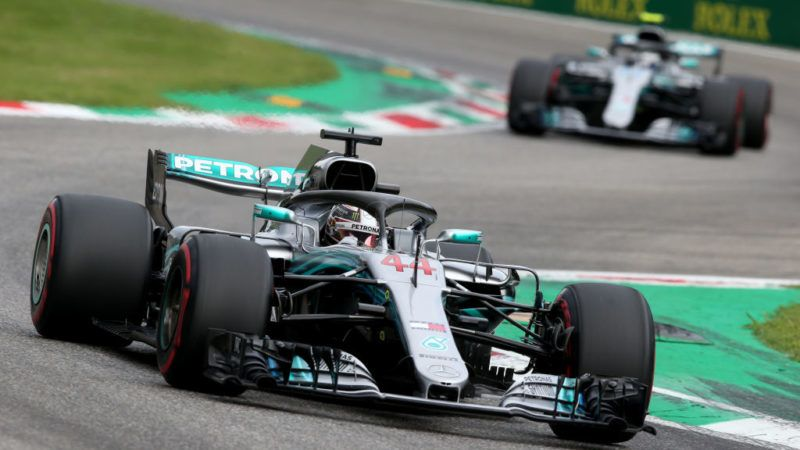 MONZA, ITALY - SEPTEMBER 01: Lewis Hamilton of Great Britain driving the (44) Mercedes AMG Petronas F1 Team Mercedes WO9 leads Valtteri Bottas driving the (77) Mercedes AMG Petronas F1 Team Mercedes WO9 on track during qualifying for the Formula One Grand Prix of Italy at Autodromo di Monza on September 1, 2018 in Monza, Italy.  (Photo by Charles Coates/Getty Images)