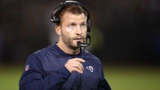 OAKLAND, CA - SEPTEMBER 10:  Head coach Sean McVay of the Los Angeles Rams looks on during their NFL game against the Oakland Raiders at Oakland-Alameda County Coliseum on September 10, 2018 in Oakland, California.  (Photo by Ezra Shaw/Getty Images)