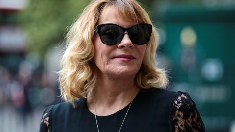 LONDON, ENGLAND - SEPTEMBER 11: English-Canadian actress Kim Cattrall arrives at Westminster Abbey for a memorial service for theatre great Sir Peter Hall OBE on September 11, 2018 in London, England. Sir Peter Hall was the former director of the National Theatre and founder of the Royal Shakespeare Company. He died on September 11, 2017 aged 86. (Photo by Jack Taylor/Getty Images)