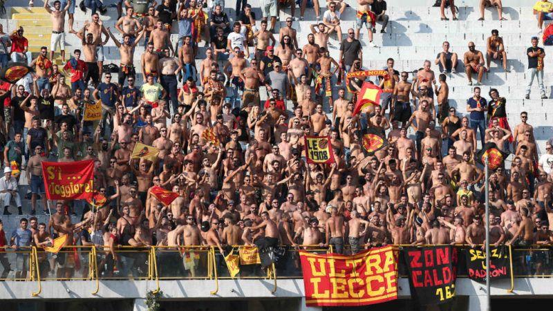 Lecce supporters during the Italian Serie B 2018/2019 match between Ascoli Calcio 1898 FC and U.S. Lecce 1908 at Cino e Lillo Del Duca stadium on September 15, 2018 in Ascoli Piceno, Italy. (Photo by Danilo Di Giovanni/NurPhoto via Getty Images)