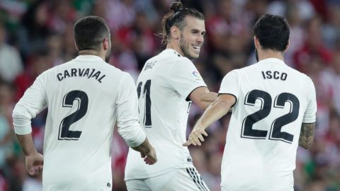 BILBAO, SPAIN - SEPTEMBER 15: Isco of Real Madrid celebrates 1-1 with Dani Carvajal of Real Madrid, Gareth Bale of Real Madrid  during the La Liga Santander  match between Athletic de Bilbao v Real Madrid at the Estadio San Mames on September 15, 2018 in Bilbao Spain (Photo by David S. Bustamante/Soccrates/Getty Images)