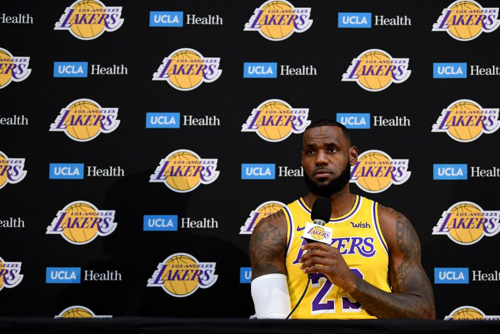 EL SEGUNDO, CA - SEPTEMBER 24:  LeBron James of the Los Angeles Lakers speaks to the media during the Los Angeles Lakers Media Day at the UCLA Health Training Center on September 24, 2018 in El Segundo, California.  (Photo by Harry How/Getty Images)