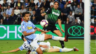 FERRARA, ITALY - SEPTEMBER 27:  Alessandro Matri of Sassuolo scores his team second goal during the serie A match between SPAL and US Sassuolo at Stadio Paolo Mazza on September 27, 2018 in Ferrara, Italy.  (Photo by Alessandro Sabattini/Getty Images)