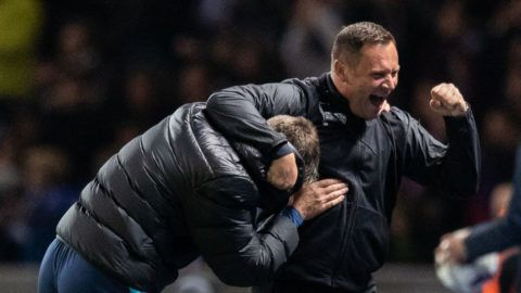 BERLIN, GERMANY - SEPTEMBER 28:  Head coach Pal Dardai of Hertha BSC celebrates with Rainer Widmayer after winning the Bundesliga match between Hertha BSC and FC Bayern Muenchen at Olympiastadion on September 28, 2018 in Berlin, Germany. (Photo by Boris Streubel/Bongarts/Getty Images)