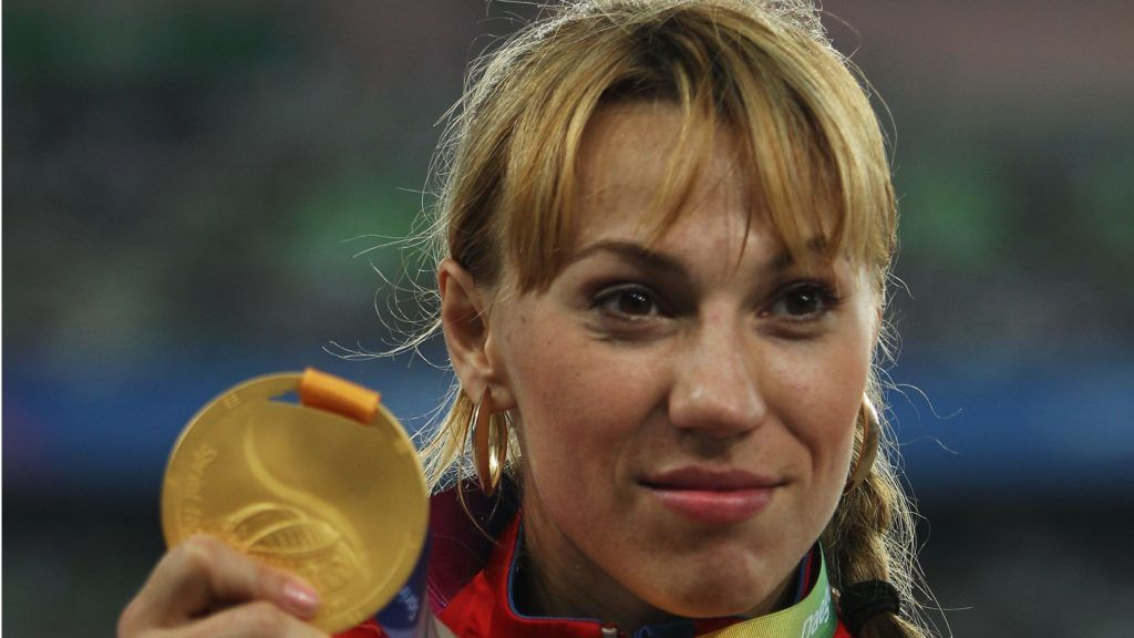 DAEGU, SOUTH KOREA - SEPTEMBER 02:  Maria Abakumova of Russia celebrates with her gold medal following her victory in the women's javelin final during day seven of 13th IAAF World Athletics Championships at Daegu Stadium on September 2, 2011 in Daegu, South Korea.  (Photo by Michael Steele/Getty Images)