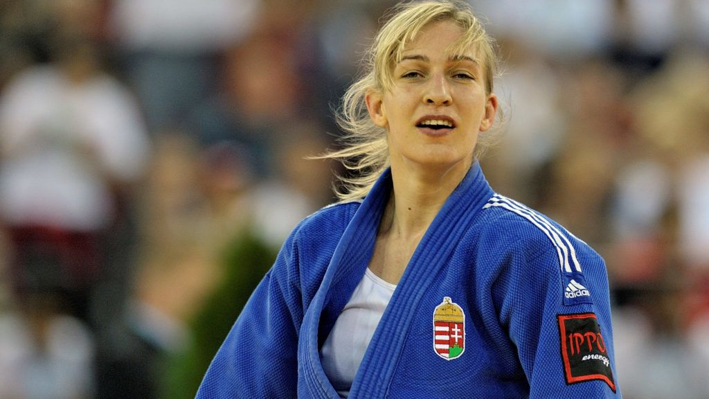 BUDAPEST, HUNGARY - APRIL 25:  Eva Csernoviczki of Hungary (blue) wins the u48kgs gold medal at the Budapest European Championships held at the Papp Laszlo Sports Hall, on April 25, 2013 in Budapest, Hungary. The event takes place from the 25-28. (David Finch/Getty Images)