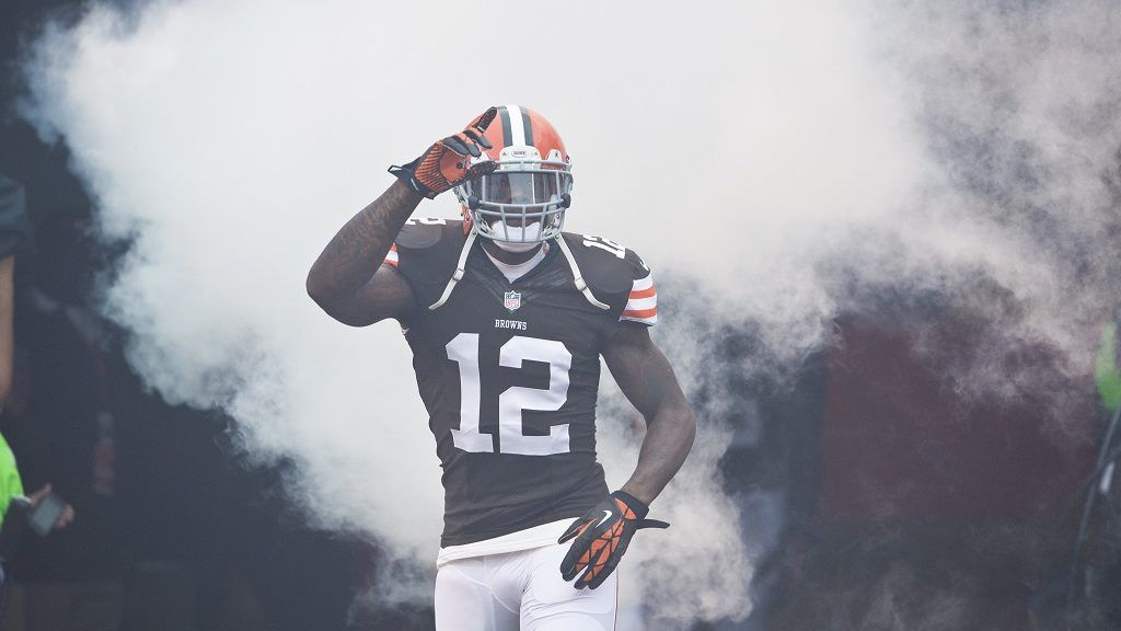 CLEVELAND, OH - OCTOBER 13: Wide receiver Josh Gordon #12 of the Cleveland Browns celebrates during player introductions prior to the game against the Detroit Lions at FirstEnergy Stadium on October 13, 2013 in Cleveland, Ohio. The Lions defeated the Browns 31-17. (Photo by Jason Miller/Getty Images)