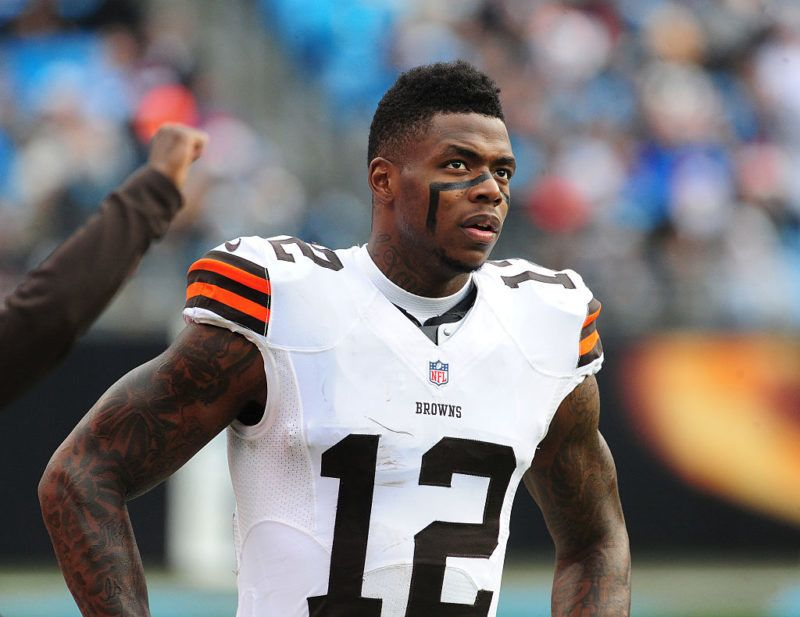 CHARLOTTE, NC - DECEMBER 21: Josh Gordon #12 of the Cleveland Browns watches the action against the Carolina Panthers on December 21, 2014 at Bank of America Stadium in Charlotte, North Carolina.  (Photo by Scott Cunningham/Getty Images)