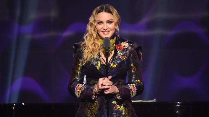 NEW YORK, NY - DECEMBER 09:  Madonna speaks on stage at the Billboard Women in Music 2016 event on December 9, 2016 in New York City.  (Photo by Nicholas Hunt/Getty Images for Billboard Magazine)