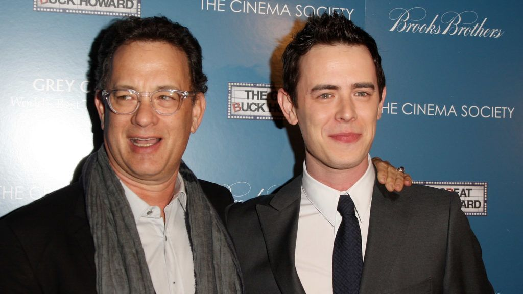 """NEW YORK - MARCH 10:  (L-R) Actors Tom Hanks and Colin Hanks attend The Cinema Society and Brooks Brothers screening of """"The Great Buck Howard"""" at the Tribeca Grand Screening Room on March 10, 2009 in New York City.  (Photo by Stephen Lovekin/Getty Images)"""