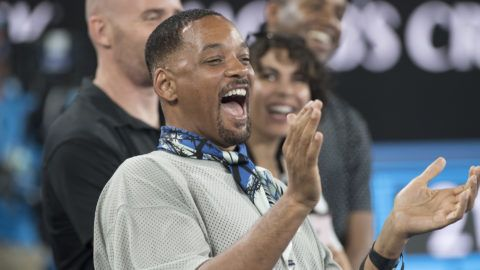 MELBOURNE, AUSTRALIA - JANUARY 19:  Hollywood actor Will Smith reacts to Australian tennis player Nick Kyrgios being interviewed on TV after his winning match against Jo Wilfred Tsonga on day five of the 2018 Australian Open at Melbourne Park on January 19, 2018 in Melbourne, Australia.  (Photo by James D. Morgan/Getty Images)