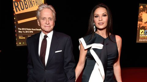 NEW YORK, NY - MAY 14:  Michael Douglas and Catherine Zeta-Jones attend The Robin Hood Foundation's 2018 benefit at Jacob Javitz Center on May 14, 2018 in New York City.  (Photo by Kevin Mazur/Getty Images for Robin Hood)