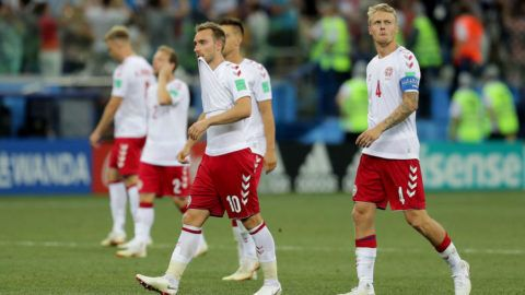 NIZHNY NOVGOROD, RUSSIA - JULY 01:  Christian Eriksen of Denmark looks dejected as the lose on penalties to Croatia during the 2018 FIFA World Cup Russia Round of 16 match between Croatia and Denmark at Nizhny Novgorod Stadium on July 1, 2018 in Nizhny Novgorod, Russia.  (Photo by Richard Heathcote/Getty Images)