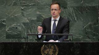 New York, 2018. szeptember 29. Szijjártó Péter külgazdasági és külügyminiszter felszólal az ENSZ-közgyûlés 73. ülésszakán a világszervezet New York-i székházábanaz 2018. szeptember 28-án. (MTI/AP/Frank Franklin II)