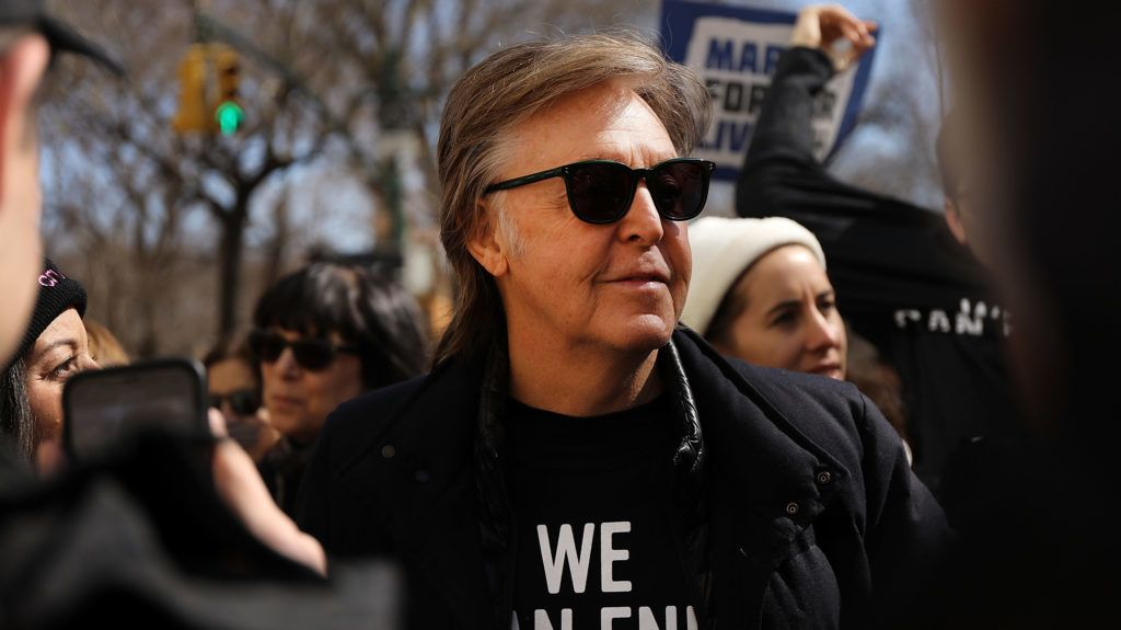 NEW YORK, NY - MARCH 24:  Sir Paul McCartney joins thousands of people, many of them students, march against gun violence in Manhattan during the March for Our Lives rally on March 24, 2018 in New York, United States. More than 800 March for Our Lives events, organized by survivors of the Parkland, Florida school shooting on February 14 that left 17 dead, are taking place around the world to call for legislative action to address school safety and gun violence.  (Photo by Spencer Platt/Getty Images)
