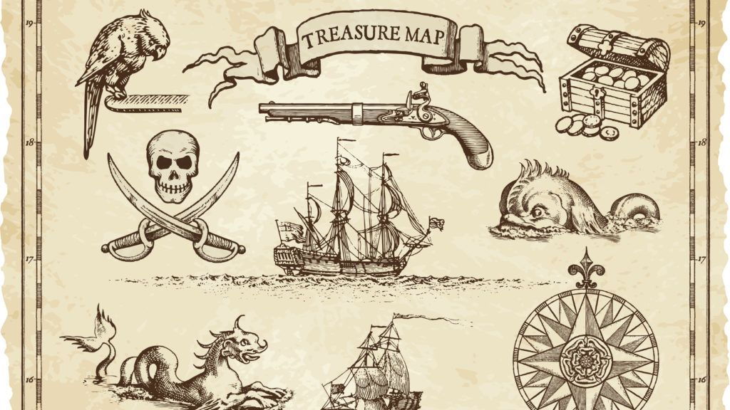 """A collection of very high detail ornaments designed to illustrate vintage or """"treasure"""" maps or othe designs related to vintage travels or pirates."""