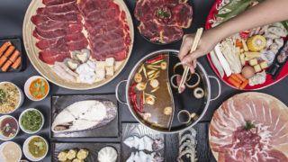hand pick chopsticks eating japan food fresh pork  for boil