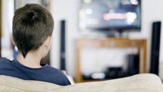 boy, watching TV, TV, watching, horizontal, sitting