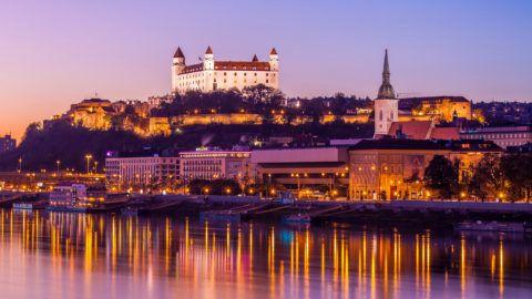 Beautiful night shot of Bratislava city, Slovakia