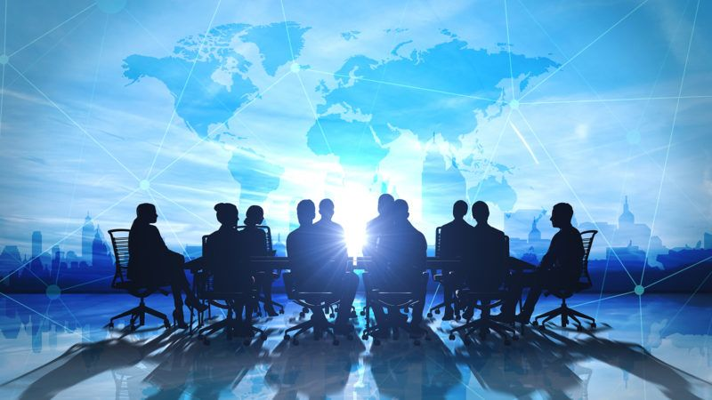World Management Team in office silhouette 3d rendering