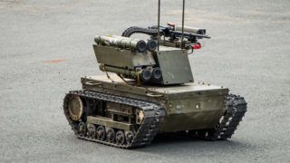 """""""Platform-M""""  combat robot which can be used both for patrolling and attacks."""