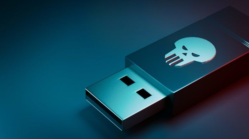 USB memory stick with skull icon - 3d render