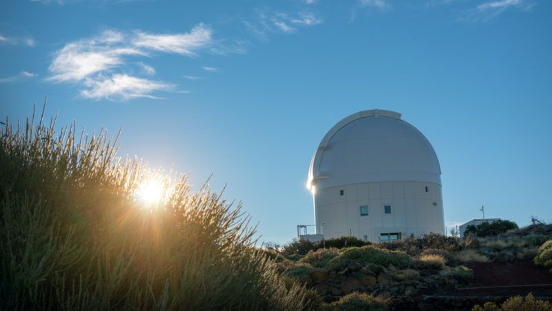 astronomical telescopes at the top of the mountain near the volcano Teide in the Canary Islands in Spain