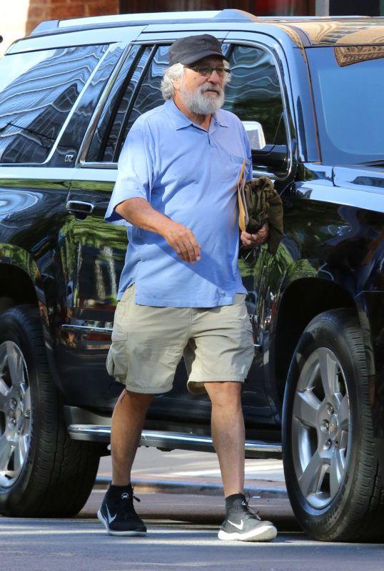 "Robert De Niro braves the humid hot weather in shorts in Manhattan's TribeCa Neighborhood as he soon will start filming ""The Joker"" alongside Joaquin Phoenix. 30 Aug 2018 Pictured: Robert De Niro. Photo credit: LRNYC / MEGA  TheMegaAgency.com +1 888 505 6342 August , 2018 *** Local Caption *** MEGA268465_002"