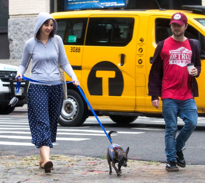EXCLUSIVE: Daniel Radcliffe and girlfriend Erin Darke seen walking there dog on a rainy day in New York City. 08 Sep 2018 Pictured: Daniel Radcliffe, Erin Darke. Photo credit: MEGA  TheMegaAgency.com +1 888 505 6342 September 8, 2018  *** Local Caption *** MEGA272475_011