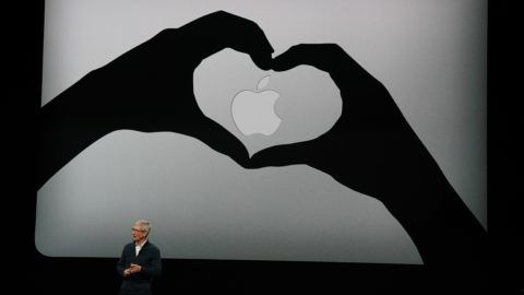 Apple CEO Tim Cook presents new products, including new Macbook laptops, during a special event at the Brooklyn Academy of Music, Howard Gilman Opera House October 30, 2018, in New York. (Photo by TIMOTHY A. CLARY / AFP)