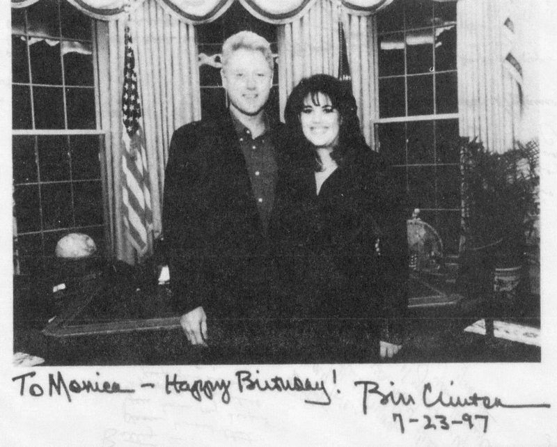 This photo released by the House Judiciary Committee 02 October in Washington, DC, shows US President Bill Clinton with former intern Monica Lewinsky in the Oval Office of the White House. The photo is autographed by the president and includes a personal note to Lewinsky on her birthday.    AFP PHOTO (Photo by AFP)