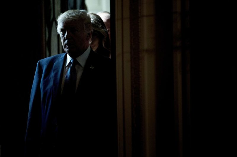 US President Donald Trump waits to enter for a Hispanic Heritage Month event in the East Room of the White House October 6, 2017 in Washington, DC.                         President Trump invited over 200 Hispanic business, community, and faith leaders, and guests from across the country to join in the celebration of Hispanic Heritage Month. / AFP PHOTO / Brendan Smialowski