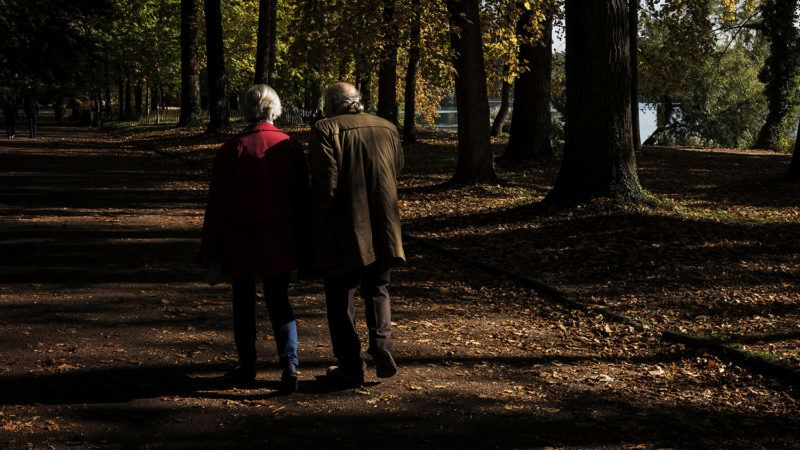 Elderly people walk on a path past trees in the Parc de la Tete d'Or on October 10, 2017 in Lyon. (Photo by JEFF PACHOUD / AFP)