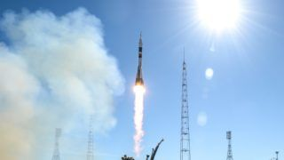 5664137 11.10.2018 The Soyuz MS-10 spacecraft carrying the crew of NASA astronaut Nick Hague, of the United States, and Roskosmos cosmonaut Aleksey Ovchinin, of Russia, blasts off to the International Space Station (ISS) from the launchpad at the Baikonur Cosmodrome, Kazakhstan, October 11, 2018. Alexey Filippov / Sputnik