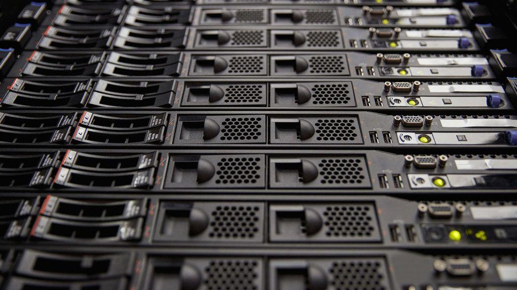Close up server room panel.