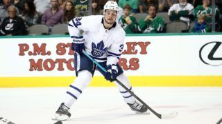 DALLAS, TX - OCTOBER 09: Auston Matthews #34 of the Toronto Maple Leafs at American Airlines Center on October 9, 2018 in Dallas, Texas.   Ronald Martinez/Getty Images/AFP