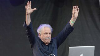 CHICAGO, IL - JULY 18: Giorgio Moroder performs during De Nolet presented by Ketel One Vodka, an official sponsor of the Pitchfork Music Festival at Union Park on July 18, 2014 in Chicago, Illinois.   Daniel Boczarski/Getty Images for Ketel One/AFP