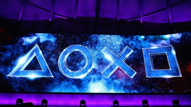 LOS ANGELES, CA - JUNE 11: Sony Playstation logos are displayed during the Sony Playstation E3 conference at LA Center Studios on June 11, 2018 in Los Angeles, California. The E3 Game Conference begins on Tuesday June 12.   Christian Petersen/Getty Images/AFP