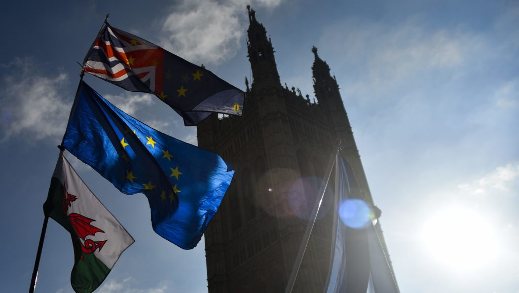 Demonstrtors gather outside the Parliament to protest against Brexit, waving EU and Union flags and a placard reading 'Brexit Is It Worth It?', London on October 25, 2018. The UK could experience a no deal departure from the EU if the bloc takes a 'deliberately intransigent approach' to Brexit negotiations, MPs have been told. Brexit Secretary Dominic Raab made the warning to the House of Commons on Thursday, amid reports the government is ready to introduce parliamentary preparations for a no deal divorce in less than three weeks' time. (Photo by Alberto Pezzali/NurPhoto)
