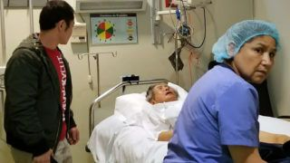 """This handout picture made available by the Fujimori family shows Peruvian former president (1990-2000) Alberto Fujimori being admitted to the Centenario Clinic in Lima, after a Peruvian court annulled the humanitarian pardon granted to him last December by then-President Pedro Pablo Kuczynski, on October 3, 2018.  A Peruvian court on October 3 annulled ex-president Alberto Fujimori's pardon for crimes against humanity and ordered the 80-year-old's immediate arrest, officials said. After his arrest on October 3, he was admitted to a clinic for tests after experiencing a drop in blood pressure and an accelerated heart beat, his doctor, Alejandro Aguinaga, told reporters.  / AFP PHOTO / FAMILY HANDOUT / FAMILY HANDOUT / RESTRICTED TO EDITORIAL USE - MANDATORY CREDIT """"AFP PHOTO / FUJIMORI FAMILY HANDOUT """" - NO MARKETING NO ADVERTISING CAMPAIGNS - DISTRIBUTED AS A SERVICE TO CLIENTS"""