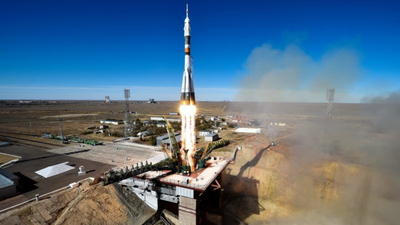 Russia's Soyuz MS-10 spacecraft carrying the members of the International Space Station (ISS) expedition 57/58, Russian cosmonaut Alexey Ovchinin and NASA astronaut Nick Hague, blasts off to the ISS from the launch pad at the Russian-leased Baikonur cosmodrome in Baikonur on October 11, 2018. (Photo by Kirill KUDRYAVTSEV / AFP)
