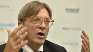 "The European Parliament's Brexit coordinator Guy Verhofstadt  during press conference in Vienna, Austria, on 19 th September 2018. (Photo credit should read ""HERBERT PFARRHOFER/APA-PictureDesk via AFP"")"