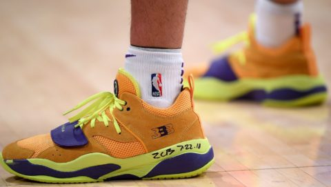 LOS ANGELES, CA - OCTOBER 22: Lonzo Ball #2 of the Los Angeles Lakers shoes during the game against the San Antonio Spurs at Staples Center on October 22, 2018 in Los Angeles, California. Harry How/Getty Images/AFP
