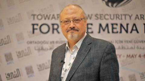 ISTANBUL, TURKEY - (ARCHIVE) : A file photo dated May 6, 2018 shows Prominent Saudi journalist Jamal Khashoggi in Istanbul, Turkey. Saudi journalist Jamal Khashoggi died after a brawl inside the Saudi consulate in Istanbul, Saudi Arabia announced Saturday. Omar Shagaleh / Anadolu Agency