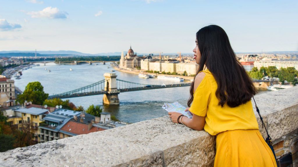 Female enjoying Budapest view from the fortress above