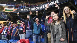 London, 2018. október 4. A Vidi szurkolói a labdarúgó Európa-liga L csoportjában játszott Chelsea - Vidi FC mérkõzésen a londoni Stamford Bridge stadionban 2018. október 4-én. A Chelsea 1-0-ra gyõzött. MTI Fotó: Koszticsák Szilárd
