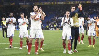 London, 2018. október 4.A Vidi játékosai a labdarúgó Európa-liga L csoportjában játszott Chelsea - Vidi FC mérkőzésen a londoni Stamford Bridge stadionban 2018. október 4-én. A Chelsea 1-0-ra győzött.MTI Fotó: Koszticsák Szilárd