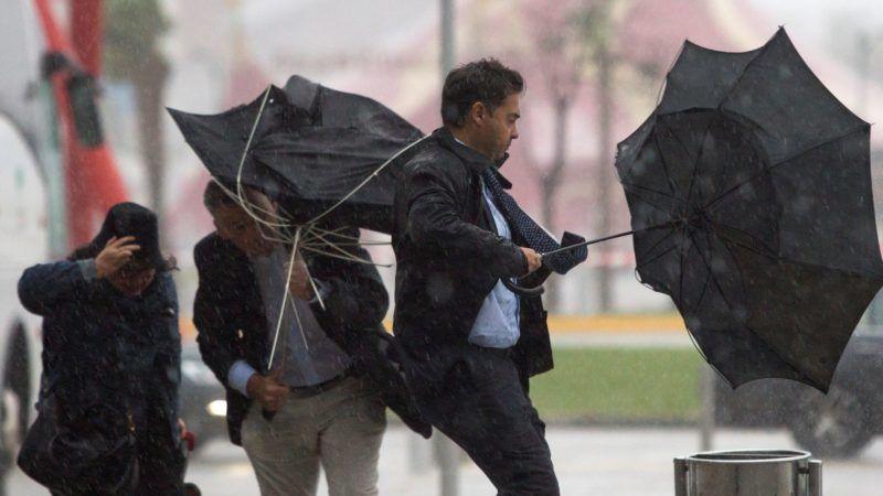 Málaga, 2018. október 18. Járókelõk az erõs szél miatt kifordult esernyõvel a kezükben a dél-spanyolországi Málagában 2018. október 18-án. A spanyol hatóságok narancssárga riasztást adtak ki a Földközi-tenger térségében a hatalmas esõzések miatt. Egy négyzetméternyi területre, akár 60 liternyi csapadék hullhat óránként. MTI/EPA/Daniel Perez *** Local Caption *** Járókelõk az erõs szél miatt kifordult esernyõvel a kezükben a dél-spanyolországi Málagában 2018. október 18-án. A spanyol hatóságok narancssárga riasztást adtak ki a Földközi-tenger térségében a hatalmas esõzések miatt. Egy négyzetméternyi területre, akár 60 liternyi csapadék hullhat óránként.
