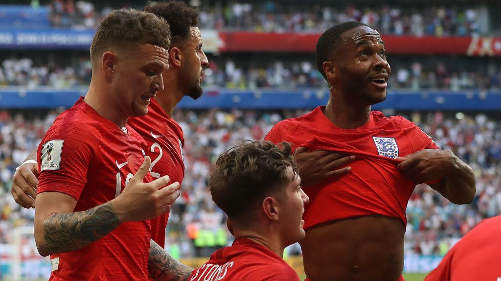 SAMARA, RUSSIA - JULY 07:  Raheem Sterling of England looks on after Harry Maguire of England scores during the 2018 FIFA World Cup Russia Quarter Final match between Sweden and England at Samara Arena on July 7, 2018 in Samara, Russia. (Photo by Ian MacNicol/Getty Images)